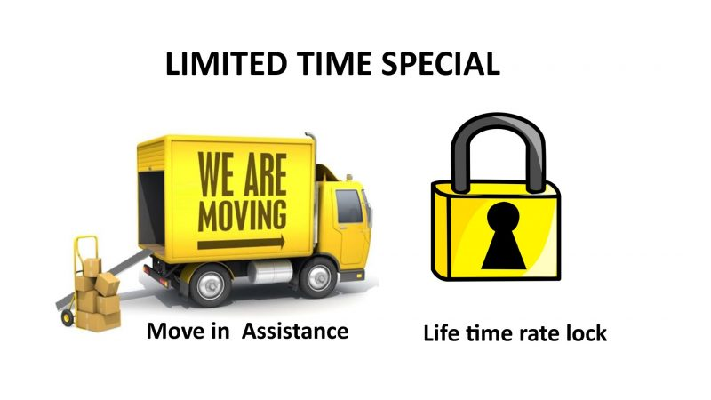 Life Time Rate Lock and Move in Assistance Special
